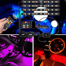Car LED Strip Lights, Interior Lights 4pcs 72 Multicolor RGB Atmosphere Floor Neon Under Dash Lighting