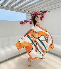 190X140CM Luxury brand scarf European Twill cotton women Shawls summer beach towel travel Fashion Printed long