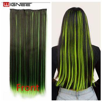 Wignee proste włosy 5 włosy Clip In Extension syntetyczne włosy wysokiej temperatury mieszane zielony niebieski różowy naturalne włosy kawałek dla kobiet tanie i dobre opinie Wysokiej Temperatury Włókna 10 cali z 5 klipsami CN (pochodzenie) You Can Choose By Yourself Piano kolor Heat Resistant Synthetic Fiber Hair Extensions
