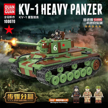 цена на 768PCS  WW2 Military Soviet Union KV-1 Tank Building Blocks Military WW2 Tank army Soldier Weapon gun Bricks Toys For children