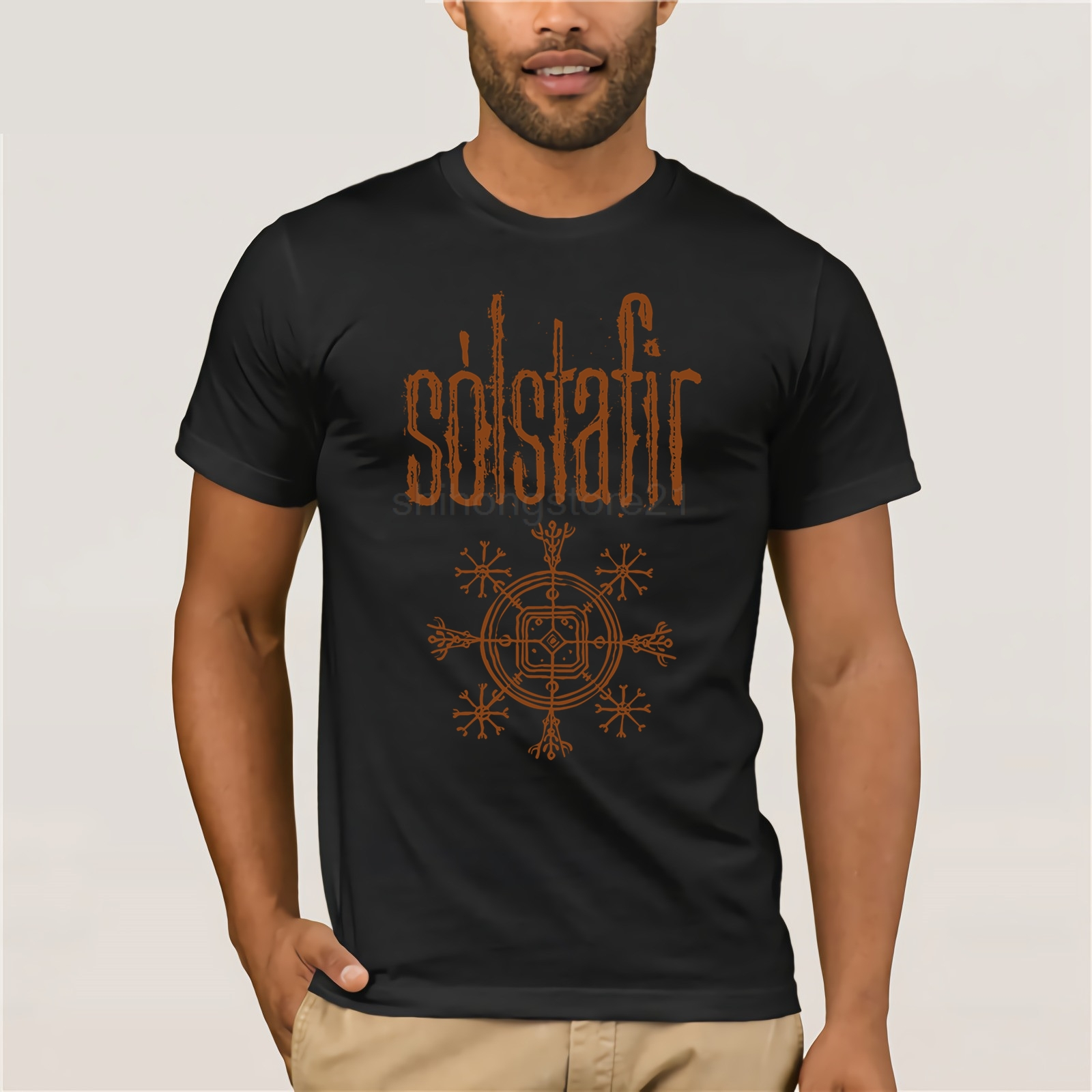 100% Cotton Short Sleeve O - Neck Tops Tee Shirts S Lstafir Solstafir T-Shirt New!