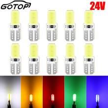 10 pçs t10 lâmpada led w5w 194 168 2smd cob dc 24v led cunha luz lâmpada interior painel lateral licença luz estilo do carro 24v