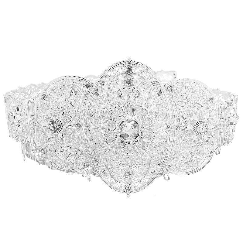 Caucasus  Traditional Waist Belts In Silver Sparkly Crystal Wedding Dress Belt Metal Chain  Wedding Bride Belts  Adult