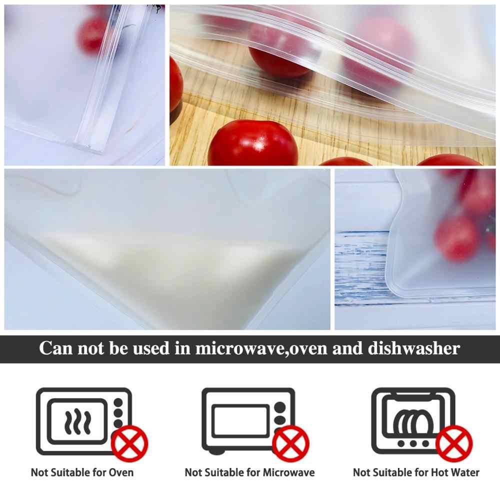 TETOU Silicone Food Storage Bag Reusable Freezer Bag Ziplock Leakproof Top Fruits Lunch Box Kitchen Organizer FDA BPA Free