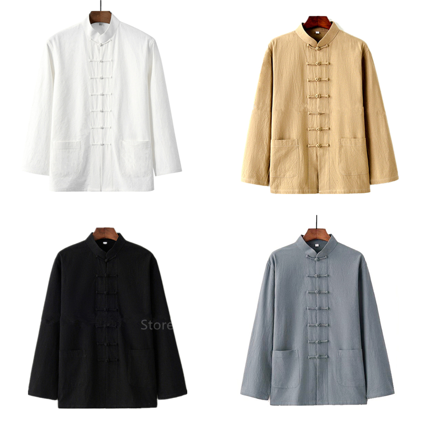 Traditional Chinese Style New Year Hanfu Men Tops Wu Tang Clan Solid Linen Tai Chi Wushu Outfit Vintage China Shirt Clothing image