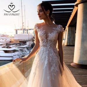 Image 4 - 패션 아플리케 레이스 웨딩 드레스 아가씨 a 라인 Boho Vestido De Noiva 꽃 법원 기차 신부 가운 Swanskirt k307