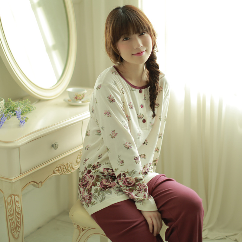 Meju Pajamas Women's Autumn Tracksuit Knitted Pure Cotton Long Sleeve Trousers Set