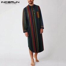 INCERUN Vintage Striped Sleep Robes Men Fashion Long Sleeve Sleepwear Stand Collar Buttons Nightgown Man Loose Cotton Bathrobes