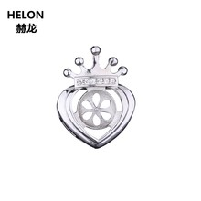 925 Sterling Silver 8-10mm Pearl or Round Bead Semi Mount Pendant Setting Women Fine Jewelry Wholesale(China)
