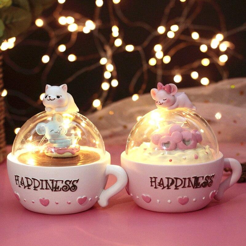 Creative Kitten Star Night Light Cute Cat Cup Night Lamp Cartoon Animal Resin Light Bedroom Decor Birthday Xmas Baby Girl Gifts