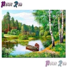 Алмазная 5d картина с пейзажем вышивка «Парк река две лодки»