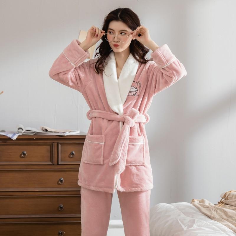 Women's Sleepwear Female Winter Coral Fleece Cardigan Women's Robe & Gown Sets Thick Autumn And Winter Women's Korean-style Cute