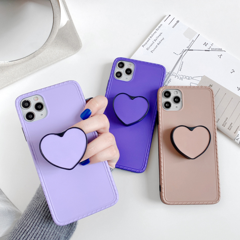 Pure color Purple brown stents phone case For iphone 11 pro max SE2020 X XR XS max 7 8 plus Mobile phone case Soft Back Cove