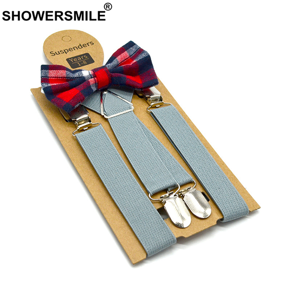 Baby Suspenders with Bow Tie Leather Children Braces British Style Wedding Red Gray Blue Solid Boys Suspenders Set 65cm*2.5cm