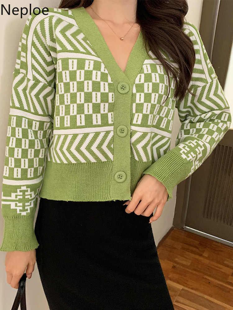 Neploe xadrez de malha blusas femininas primavera 2020 coreano decote em v único breasted cardigans solto moda curta camisola feminina 80523