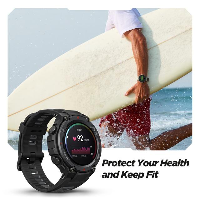 Novo amazfit t-rex trex pro t rex gps smartwatch ao ar livre à prova d18 água 18 dias de vida da bateria 390mah relógio inteligente para android ios telefone 5