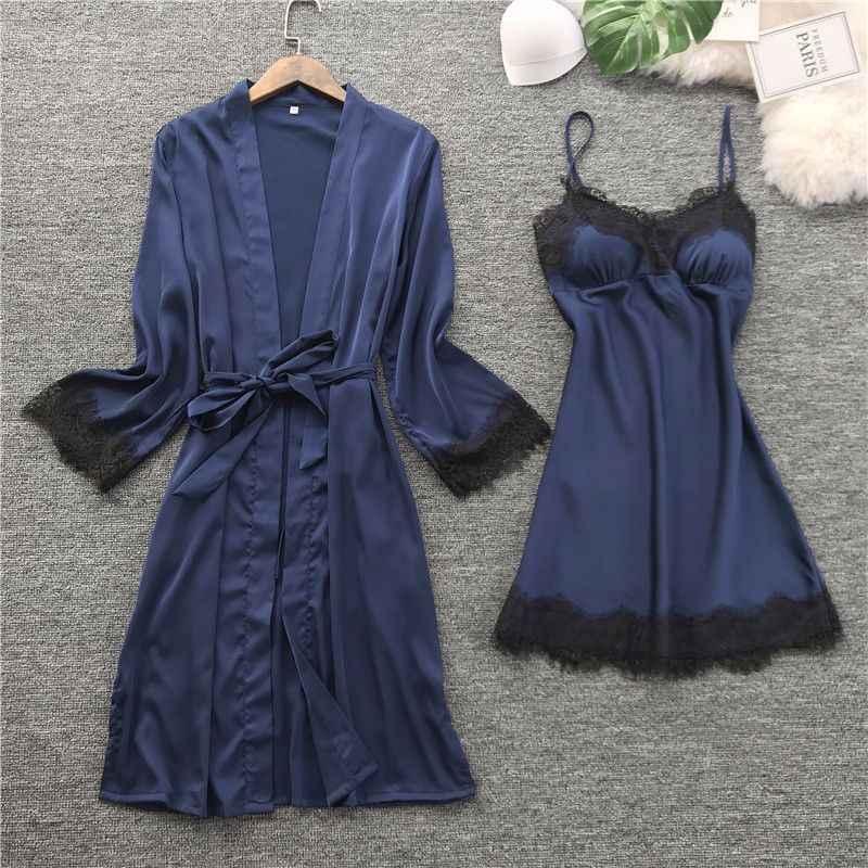 Yaz kadın ipek Robe elbise setleri seksi dantel pijama göğüs pedleri kadın dantel-up uzun kollu elbiseler katı renkli ev tekstili