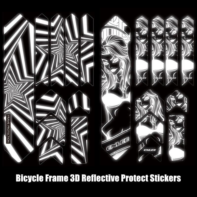 ENLEE mtb adesivi 3D Riflettente Mountain Bike Telaio Adesivi di Usura-Resistente Impermeabile Della Bicicletta Paster Della Protezione Della Copertura