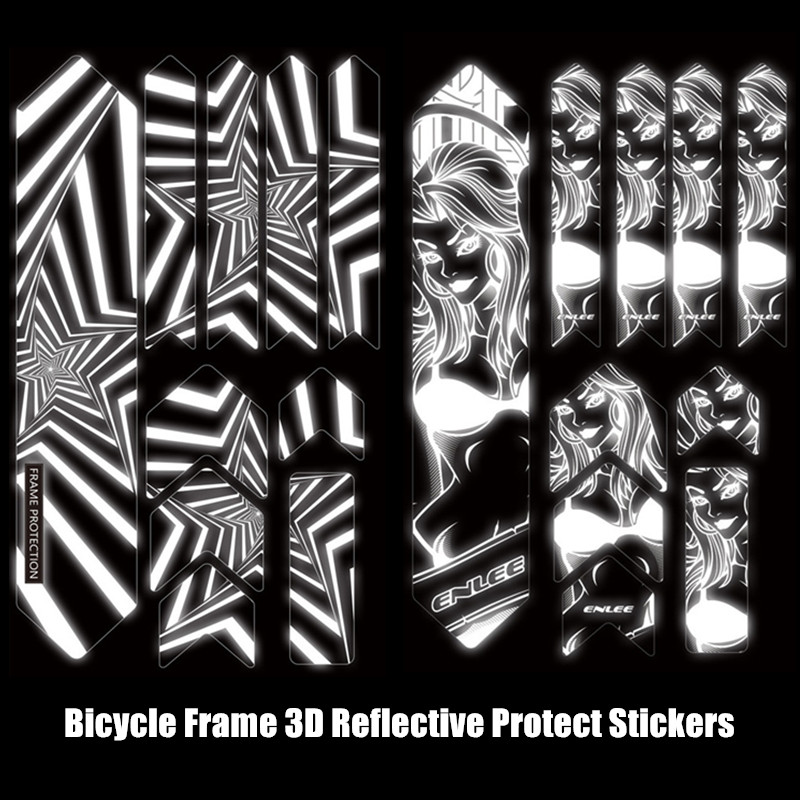 ENLEE mtb stickers 3D Reflective Mountain Bike Frame Protect Stickers Wear-Resistant Waterproof Bicycle Paster Guard Cover