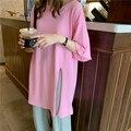 Женская футболка с коротким рукавом, розовая свободная футболка средней длины с Боковым Разрезом, лето 2021