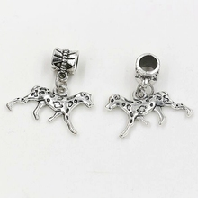 Hot Sale ! Ancient Silver Plated Dalmatians Dog Dangle Bead fit European Style Charm Bracelets 24x25mm ab724 цена и фото