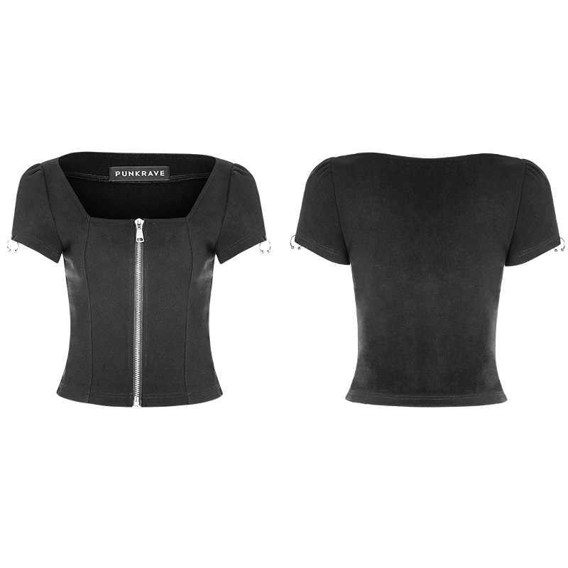 Женская трикотажная футболка с квадратным воротником PUNKRAVE, Повседневная тонкая футболка с короткими рукавами и металлической молнией на лето