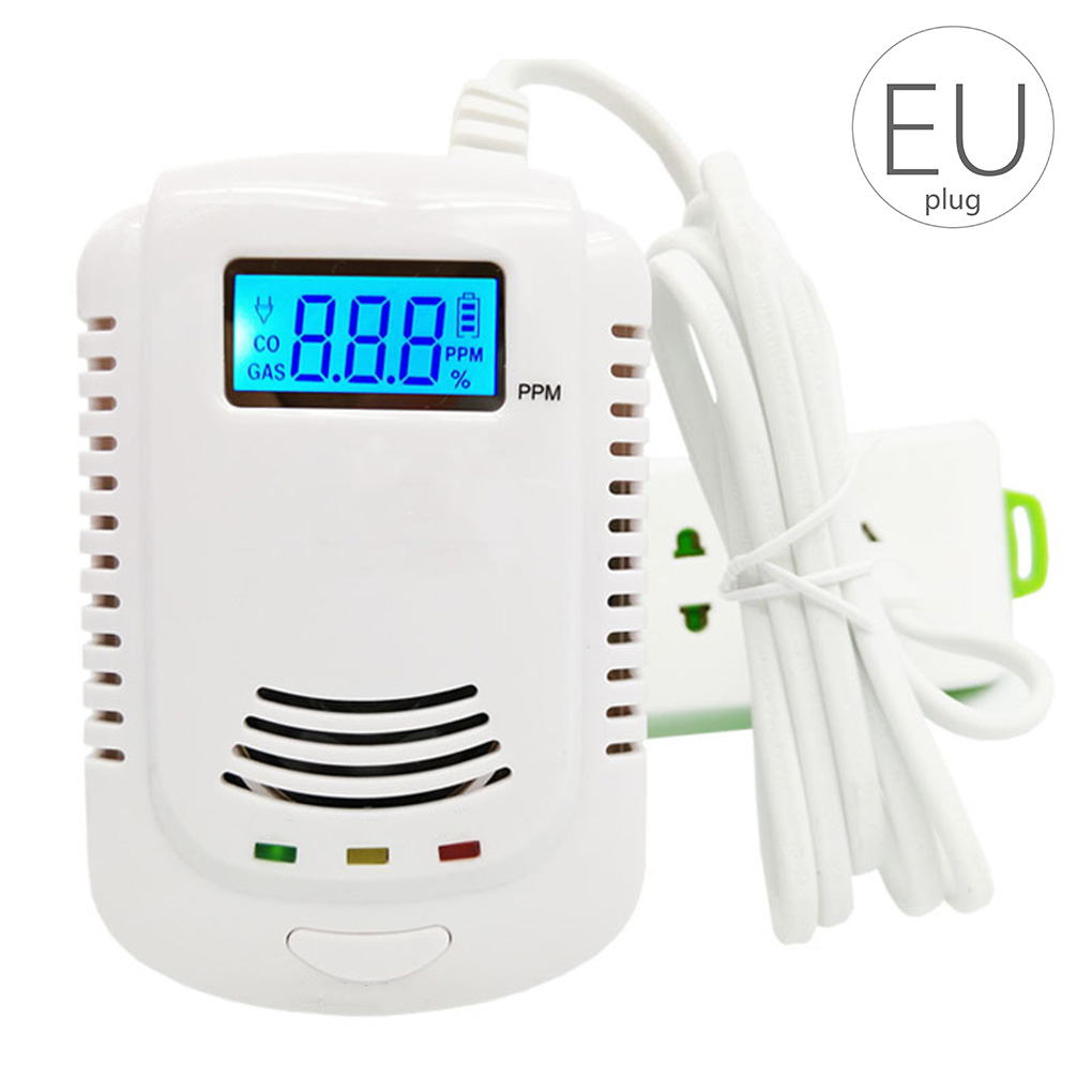 GAS DETECTOR Voice Warning Kitchen Alarm Kit Independent Plug In Combustible Natural LCD Display GAS LEAK SENSOR Alarm