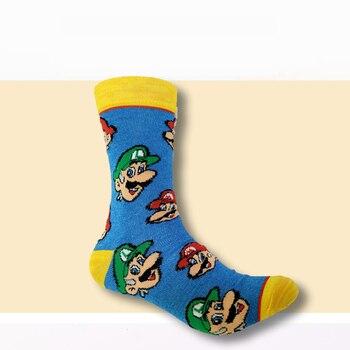 цена Cartoon print Super Mario crew Socks Women Men Cosplay Cotton Calf Sock cola skull men skateboard Socks Sports Socks онлайн в 2017 году