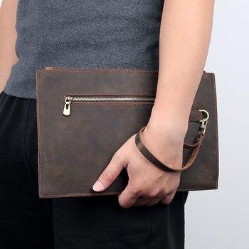 Nesitu New Vintage RFID Blocking Brown Genuine Crazy Horse Leather Men Wallet Male Purse Phone Clutch Bag for 7.9'' ipad M8455 фото