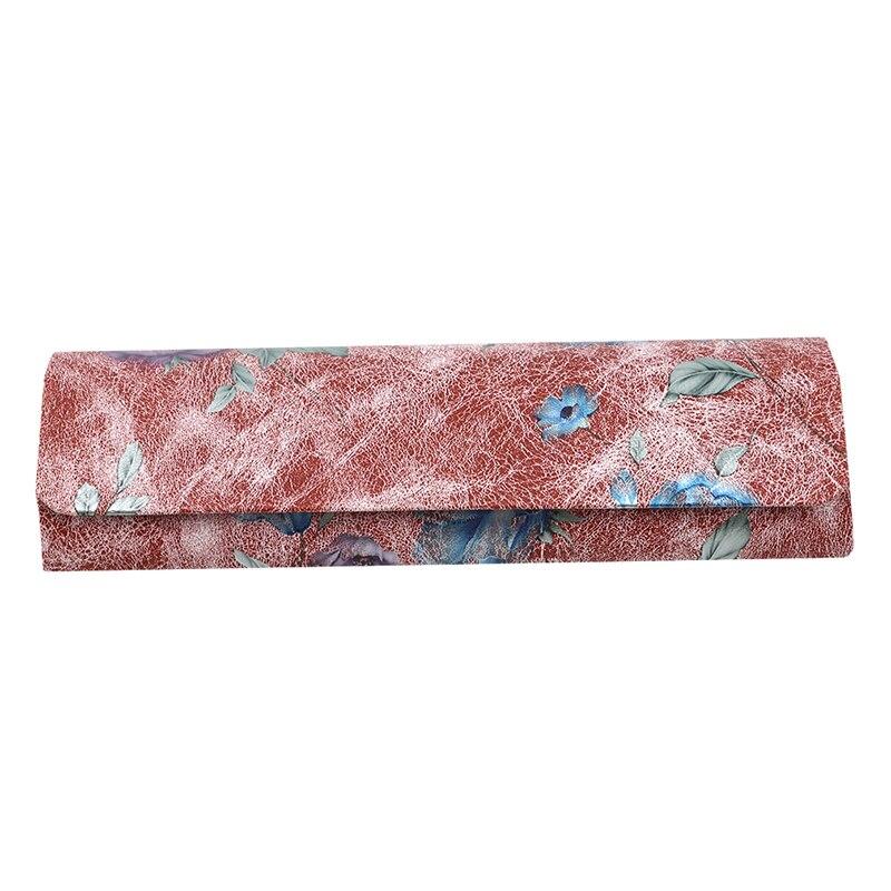 1 шт., коробка для очков из искусственной кожи, винтажный складной чехол с цветочным принтом, переносная элегантная коробка для хранения очков для чтения - Цвет: red