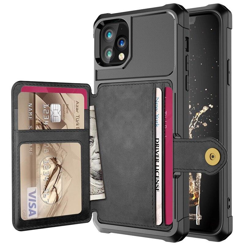 Premium Leder Flip Kick Abdeckung für iPhone 11 Pro 2019 Brieftasche Fall für iPhone 6s 7 8 Plus X XS Max XR Stoßfest TPU Abdeckung