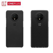 الأصلي OnePlus 7T الرسمي الوفير حالة المواد الأراميد الألياف قطعة نصف دائري الغطاء الخلفي قذيفة الحجر الرملي الكربون ل OnePlus 7T