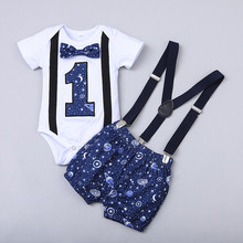 Newborn Baby Boys Gentleman Clothing Short Sleeve Letter Romper Tops Straps Shorts Outfits Birthday Clothes For Babies cheap ISHOWTIENDA COTTON Fashion O-Neck Single Breasted REGULAR Fits true to size take your normal size Broadcloth Print ISHOWTIENDA new born baby clothes set