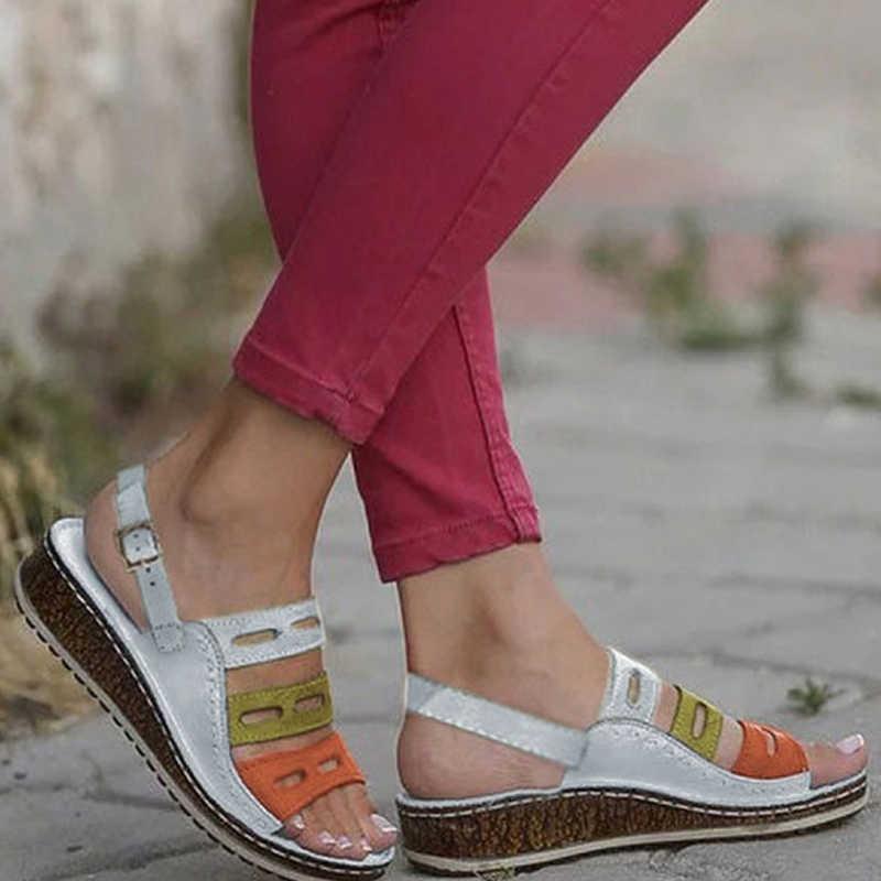 PUIMENTIUA PU deri takozlar ayakkabı kadınlar yüksek topuklu sandalet rahat yaz ayakkabı Flip Flop Femme platform sandaletler 2019 artı boyutu