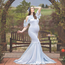 цена Maternity Photography Props Maternity Off shoulder Gown Ruffles Dress Fancy shooting photo summer pregnant dress sukienki онлайн в 2017 году