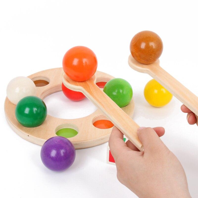 Reproduction en bois cerveau arc-en-ciel pince balle jouet drôle arc-en-ciel billard exercice main oeil coordination éducation précoce Puzzle enfant jouet - 2