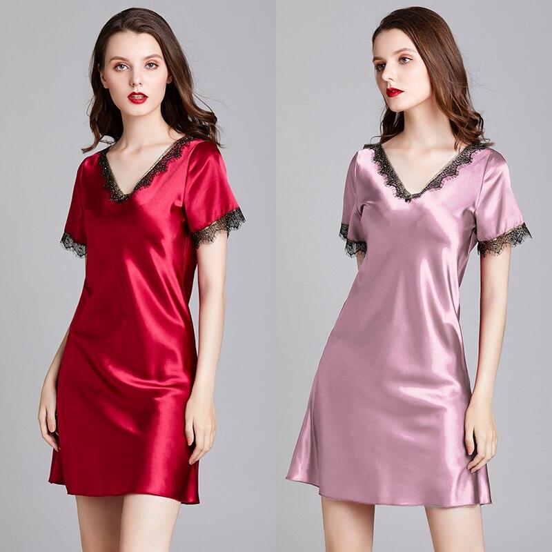 Women Silk Satin Nightgown Short Sleeve Sleepshirt Lace Nightdress V-neck Sleepweawr Fashion NIghtwear Slim Home Clothing