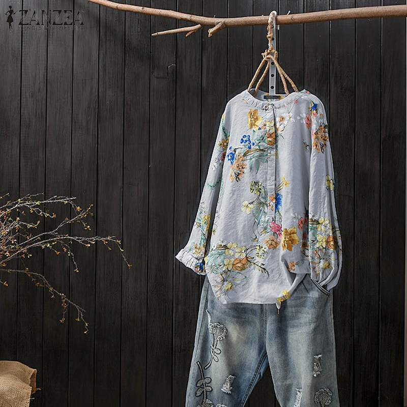 ZANZEA Autumn Long Sleeve Shirt Women Vintage Floral Printed Tunic Tops Femme Robe Work Blusas Casual Blouse Chemise Plus Size