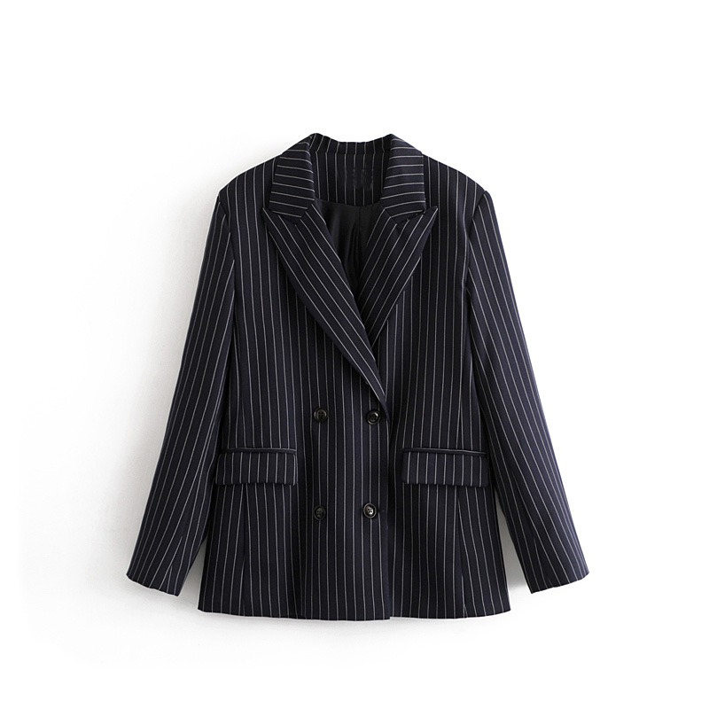 Leisure Clothes Notch Collar OL Pinstripe Blazer 2020 Casual Suit Jacket Tops Women Spring Autumn Long Blazers Office Lady Hl244