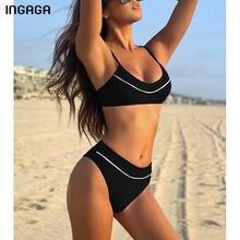 INGAGA Push Up bikini siyah kadın mayo mayo yüksek bel Biquini yüksek kesim Beachwear 2021 yeni kayış mayo kadın