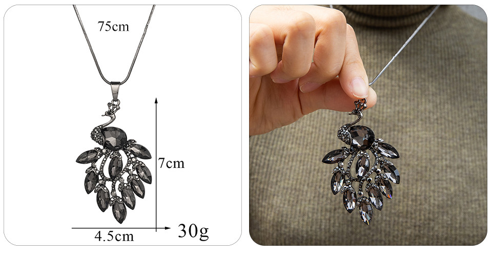 Simple Sweater Coat Necklaces Ladies Girls Long Black Leaf Natural Peacock Feather Crystal Pendant Necklaces for Women Jewelry  (127)