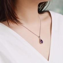 Fashion Purple Pendant Necklaces Inlaid Zircon 925 Silver drop-shape Ladies Classic Wedding Jewelry