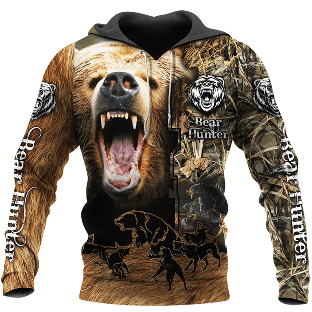 Bear Hunting Camo 3D Printed Hoodies for men and women Harajuku Fashion Hooded Sweatshirt Autumn Hoody Casual streetwear hoodie