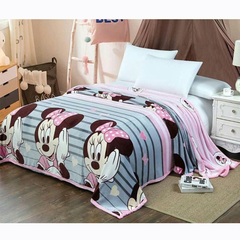 Disney dos desenhos animados minnie mouse cobertor de pelúcia jogar quente crianças cobertores crianças meninas no sofá cama folhas presente 230x250cm