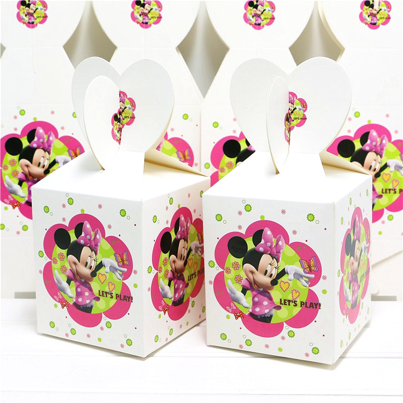 12/24/36/48Pcs/lot Minnie Mouse Candy Boxes Minnie Mouse Theme Birthday Party Decorations Kids Favor Minnie Mouse Party Supplies