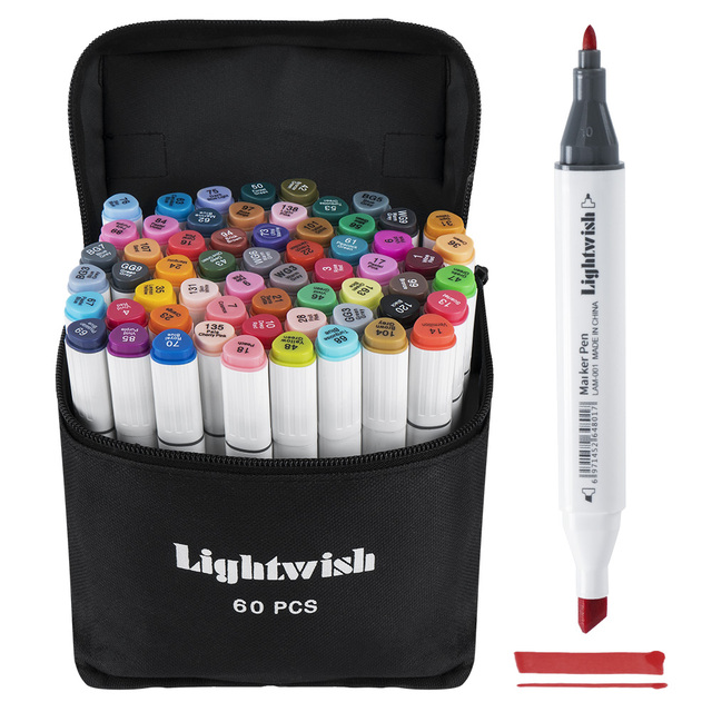 60 Coloured Alcohol Markers Art Drawing Manga Twin Tip Marker Pen  Set+Carry Bag+Highlight Pen Art Supplies