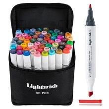 60 marcadores de álcool colorido arte desenho manga twin tip marcador caneta conjunto + carry bag + destaque caneta arte suprimentos