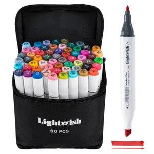 Image 1 - 60 marqueurs dalcool colorés dessin dart Manga double pointe marqueur ensemble de stylos + sac de transport + stylo de mise en évidence fournitures dart