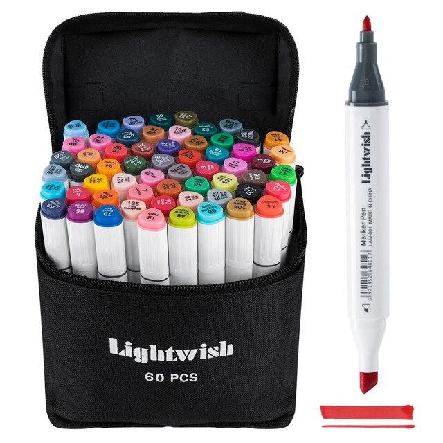 60 marqueurs dalcool colorés dessin dart Manga double pointe marqueur ensemble de stylos + sac de transport + stylo de mise en évidence fournitures dart