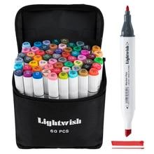 60 цветных спиртовых маркеров для рисования манги, набор маркеров с двойным наконечником + сумка для переноски + хайлайтер, товары для рукоделия